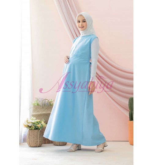 Sleeveless Dress Katun Biru