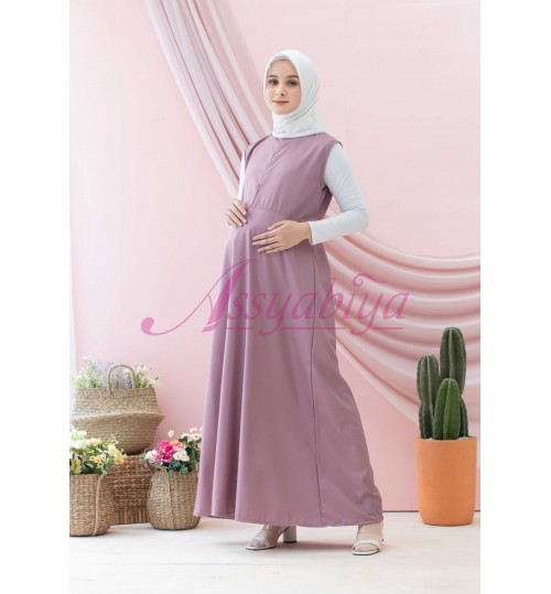 Sleeveless Dress Katun Dove/ Dusty Purple