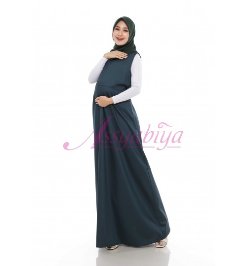 Dress Hamil Katun Hijau Botol