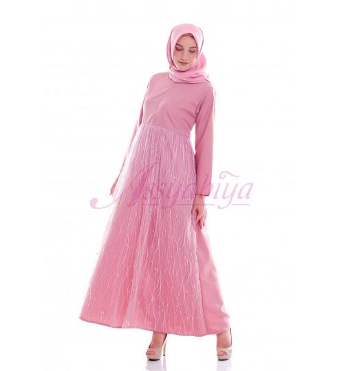 Gamis Mewah Tile Ibu Abu Pink Busui