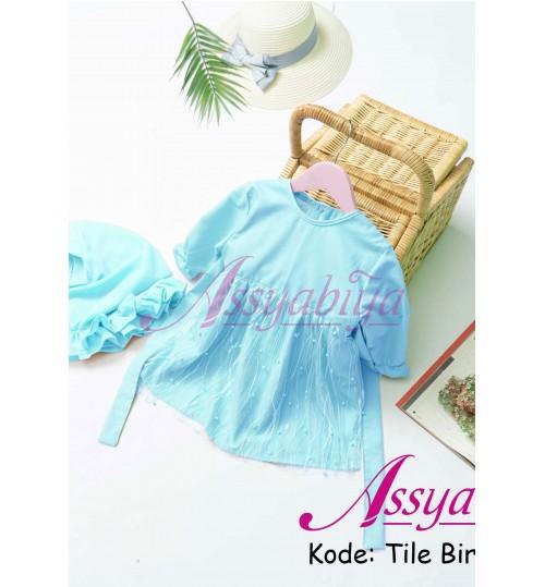 Gamis Bayi Mewah Tile Biru Muda